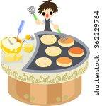 the clerk who bakes pancakes in ... | Shutterstock .eps vector #362229764
