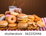 multiple type of fast food on... | Shutterstock . vector #362232446