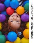 cute smiling girl in sponge... | Shutterstock . vector #362240624