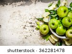 Fresh Green Apples In A Dish O...