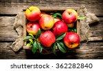 fresh red apples in wooden box. ... | Shutterstock . vector #362282840
