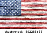 Usa  American Flag On Old Wood...