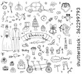 hand drawn doodle wedding... | Shutterstock .eps vector #362299793