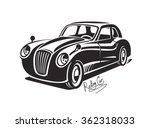 vector black retro car  vintage ... | Shutterstock .eps vector #362318033