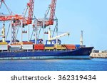 container stack and ship under... | Shutterstock . vector #362319434