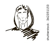 man face silhouette  head... | Shutterstock .eps vector #362351153
