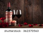 Red Wine Bottle  Two Glasses O...