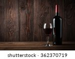 red wine bottle and glass of... | Shutterstock . vector #362370719