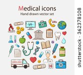 medical doddle icon set  | Shutterstock . vector #362378108