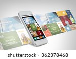 smarthphone with news web page... | Shutterstock . vector #362378468