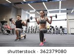 young man and woman training... | Shutterstock . vector #362379080