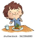 child eating salad   Shutterstock . vector #362386880