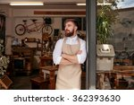 portrait of a cafe owner... | Shutterstock . vector #362393630