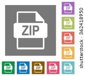 zip file format flat icon set...
