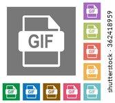 gif file format flat icon set...