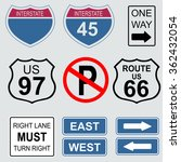 set of road and highway signs.  | Shutterstock .eps vector #362432054
