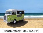 green retro fast food truck on...   Shutterstock . vector #362466644