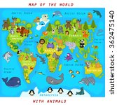 map of the world with animals  ... | Shutterstock .eps vector #362475140