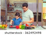 the father and the son cook food   Shutterstock . vector #362492498