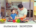 the father and the son cook food | Shutterstock . vector #362492504