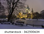 Stock photo hannover germany january rathaus hannover in winter at evening 362500634