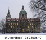 Stock photo hannover germany january rathaus hannover in winter at evening 362500640