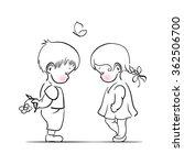 shying boy and girl hand...   Shutterstock .eps vector #362506700