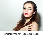 beautiful woman with red lips... | Shutterstock . vector #362508638