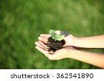human hands holding green small ... | Shutterstock . vector #362541890