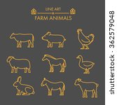 vector line farm animals icon... | Shutterstock .eps vector #362579048