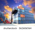 forklift handling the container ... | Shutterstock . vector #362606564
