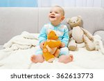 adorable baby with teddy bears... | Shutterstock . vector #362613773
