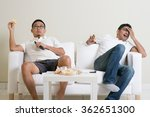 group of men sitting on sofa... | Shutterstock . vector #362651300