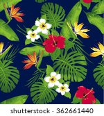 tropical flowers and leaves on... | Shutterstock .eps vector #362661440