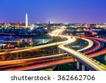 Stock photo washington d c skyline with highways and monuments 362662706