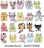 set of 20 vector doodle cute... | Shutterstock .eps vector #362676308