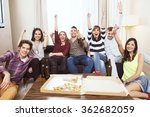 Stock photo group of friends watching tv match and cheering 362682059