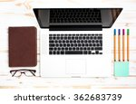 laptop and stationery objects... | Shutterstock . vector #362683739