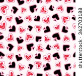 Vector Pattern With Red Hearts...