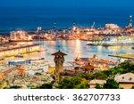 Genoa port from above - stock photo
