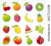 set of glossy fruit stickers... | Shutterstock .eps vector #362711108