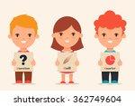 cute cartoon kids holding... | Shutterstock .eps vector #362749604