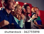happy friends watching movie in ... | Shutterstock . vector #362755898