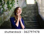 high woman posing in blue dress ... | Shutterstock . vector #362797478