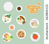 delicious food stickers | Shutterstock .eps vector #362804123