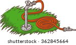 red garden hose on a green grass | Shutterstock .eps vector #362845664