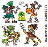 four aztec warriors  skull ... | Shutterstock .eps vector #362858393