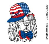 spaniel in a cap. hipster. dog. ... | Shutterstock .eps vector #362870339