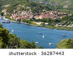 Skradin - small city on Adriatic coast in Croatia, at the entrance in Krka national park, summer 2009 - stock photo