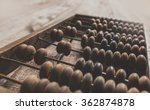 Vintage Abacus On Wooden...